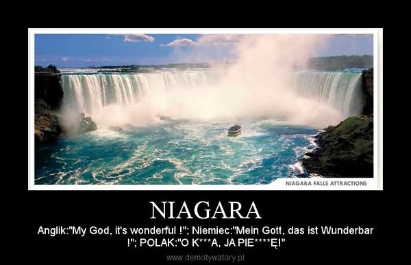 """NIAGARA – Anglik:""""My God, it's wonderful !""""; Niemiec:""""Mein Gott, das ist Wunderbar!""""; POLAK:""""O K***A, JA PIE****Ę!"""""""