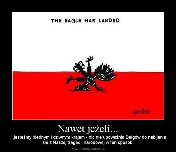 Nawet jeżeli... – ...jesteśmy biednym i dziwnym krajem - nic nie upoważnia Belgów do nabijaniasię z Naszej tragedii narodowej w ten sposób.
