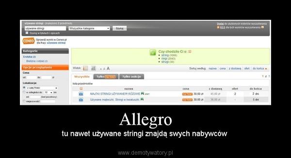 Allegro – tu nawet używane stringi znajdą swych nabywców