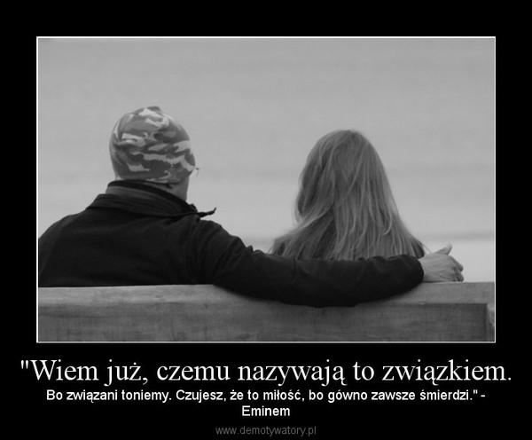 """""""Wiem już, czemu nazywają to związkiem. – Bo związani toniemy. Czujesz, że to miłość, bo gówno zawsze śmierdzi."""" -Eminem"""