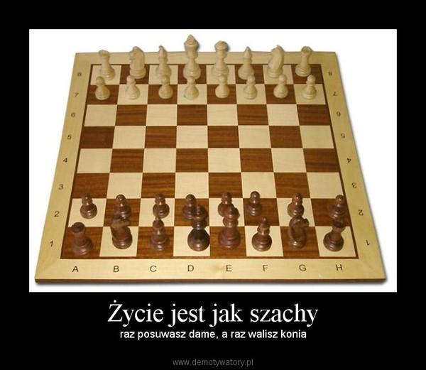 Życie jest jak szachy – raz posuwasz dame, a raz walisz konia