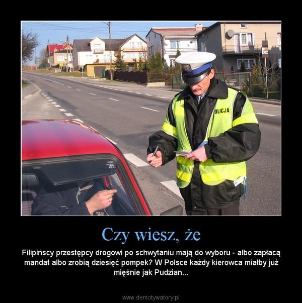 Czy wiesz, że – Filipińscy przestępcy drogowi po schwytaniu mają do wyboru - albo zapłacą mandat albo zrobią dziesięć pompek? W Polsce każdy kierowca miałby już mięśnie jak Pudzian...