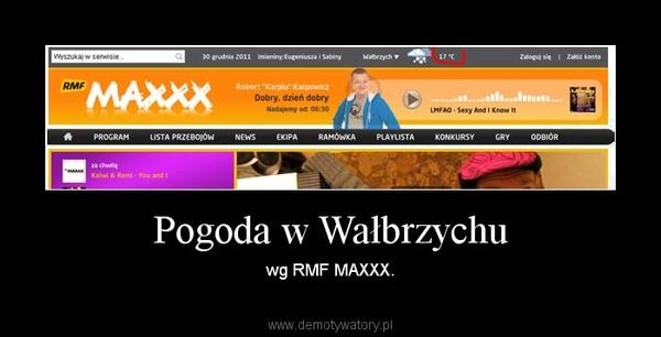 Pogoda w Wałbrzychu – wg RMF MAXXX.
