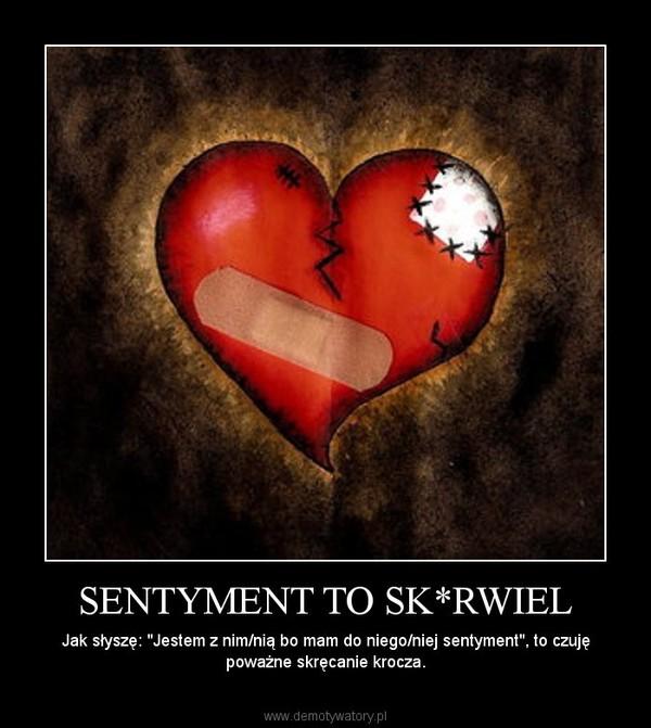 """SENTYMENT TO SK*RWIEL – Jak słyszę: """"Jestem z nim/nią bo mam do niego/niej sentyment"""", to czuję poważne skręcanie krocza."""