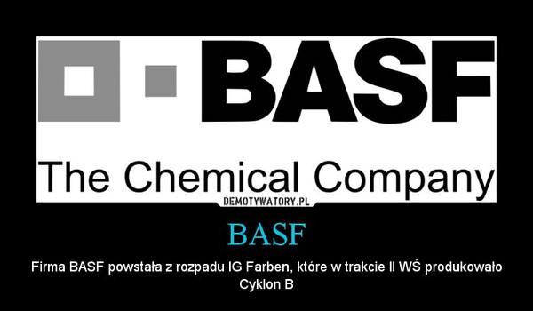 BASF – Firma BASF powstała z rozpadu IG Farben, które w trakcie II WŚ produkowało Cyklon B
