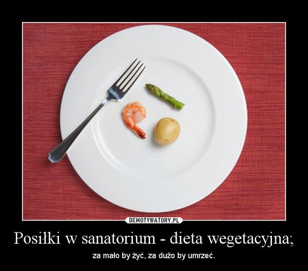 Posiłki w sanatorium - dieta wegetacyjna; – za mało by żyć, za dużo by umrzeć.