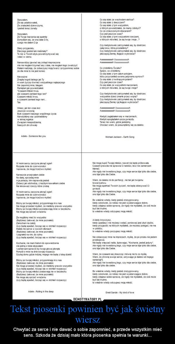 Tekst Piosenki Powinien Być Jak świetny Wiersz Demotywatorypl