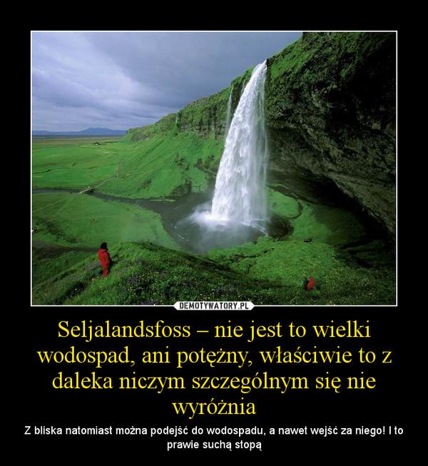 Seljalandsfoss – nie jest to wielki wodospad, ani potężny, właściwie to z daleka niczym szczególnym się nie wyróżnia – Z bliska natomiast można podejść do wodospadu, a nawet wejść za niego! I to prawie suchą stopą