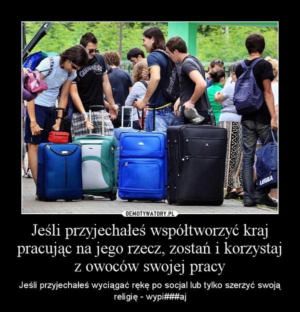 Jeśli przyjechałeś współtworzyć kraj pracując na jego rzecz, zostań i korzystaj z owoców swojej pracy – Jeśli przyjechałeś wyciągać rękę po socjal lub tylko szerzyć swoją religię - wypi###aj
