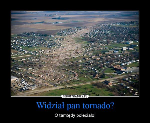 Widział pan tornado? – O tamtędy poleciało!