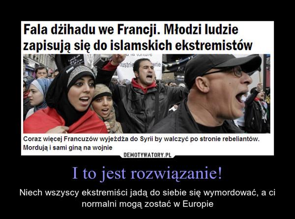 I to jest rozwiązanie! – Niech wszyscy ekstremiści jadą do siebie się wymordować, a ci normalni mogą zostać w Europie