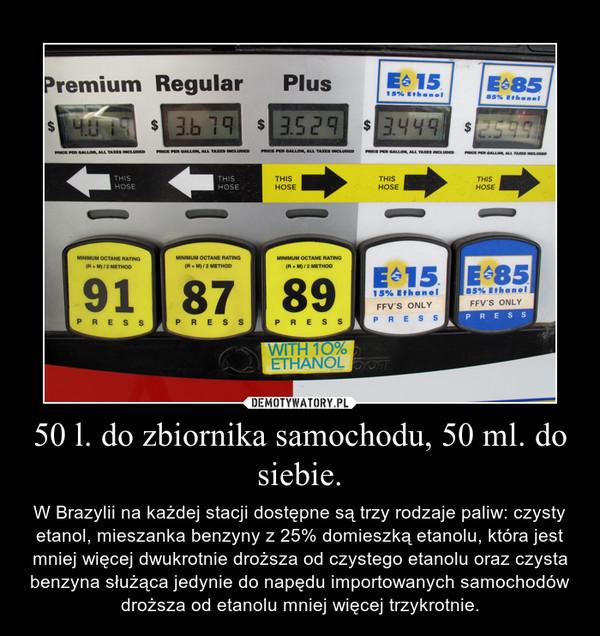 50 l. do zbiornika samochodu, 50 ml. do siebie. – W Brazylii na każdej stacji dostępne są trzy rodzaje paliw: czysty etanol, mieszanka benzyny z 25% domieszką etanolu, która jest mniej więcej dwukrotnie droższa od czystego etanolu oraz czysta benzyna służąca jedynie do napędu importowanych samochodów droższa od etanolu mniej więcej trzykrotnie.