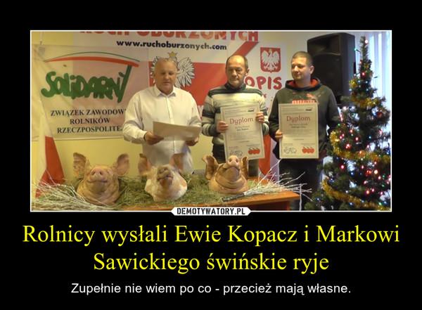 Rolnicy wysłali Ewie Kopacz i Markowi Sawickiego świńskie ryje – Zupełnie nie wiem po co - przecież mają własne.