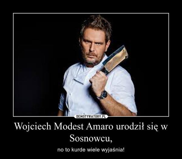 Wojciech Modest Amaro urodził się w Sosnowcu, – no to kurde wiele wyjaśnia!