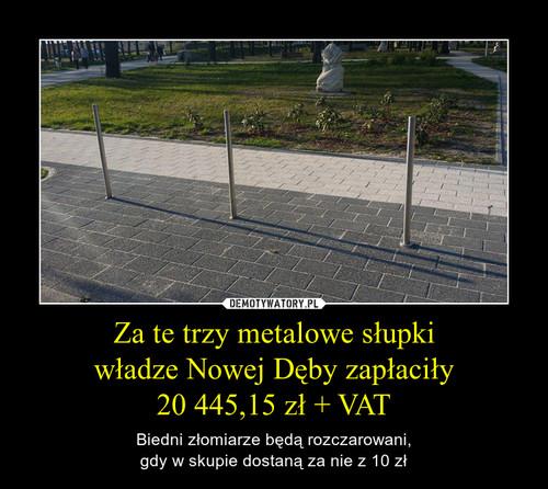 Za te trzy metalowe słupki władze Nowej Dęby zapłaciły 20 445,15 zł + VAT
