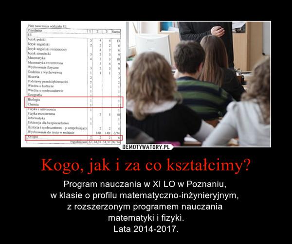 Kogo, jak i za co kształcimy? – Program nauczania w XI LO w Poznaniu, w klasie o profilu matematyczno-inżynieryjnym, z rozszerzonym programem nauczania matematyki i fizyki.Lata 2014-2017.