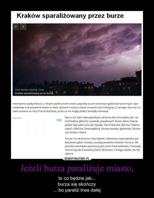 Jeżeli burza paraliżuje miasto, – to co będzie jak...burza się skończy... bo paraliż trwa dalej