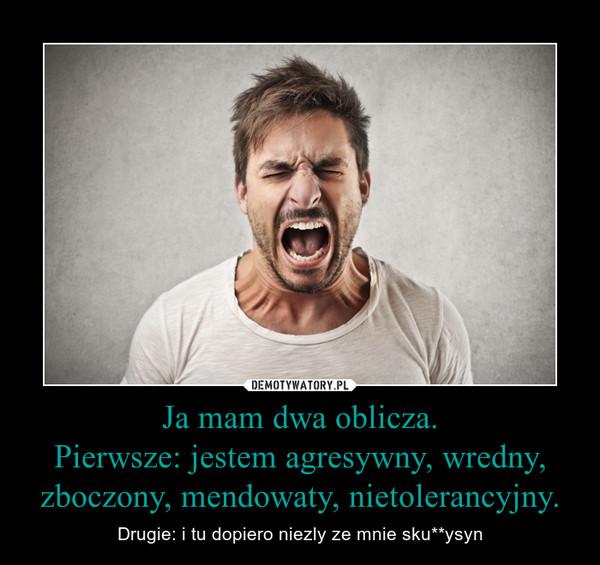 Ja mam dwa oblicza.Pierwsze: jestem agresywny, wredny, zboczony, mendowaty, nietolerancyjny. – Drugie: i tu dopiero niezly ze mnie sku**ysyn