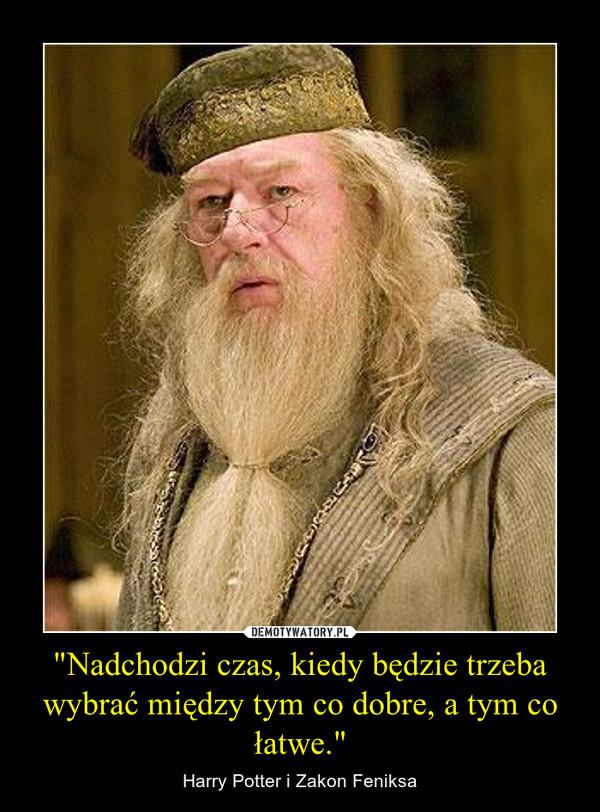 """""""Nadchodzi czas, kiedy będzie trzeba wybrać między tym co dobre, a tym co łatwe."""" – Harry Potter i Zakon Feniksa"""