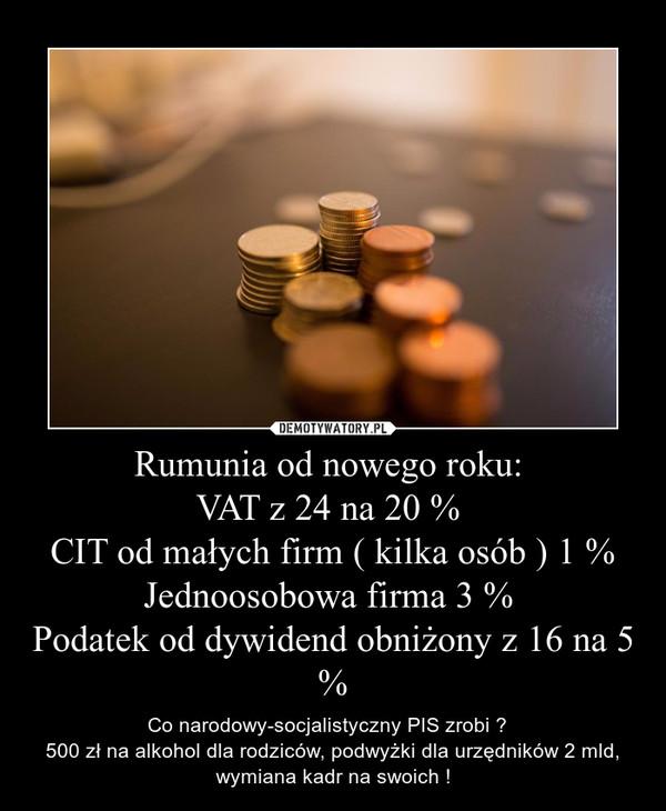 Rumunia od nowego roku: VAT z 24 na 20 % CIT od małych firm ( kilka osób ) 1 %Jednoosobowa firma 3 % Podatek od dywidend obniżony z 16 na 5 % – Co narodowy-socjalistyczny PIS zrobi ?  500 zł na alkohol dla rodziców, podwyżki dla urzędników 2 mld, wymiana kadr na swoich !