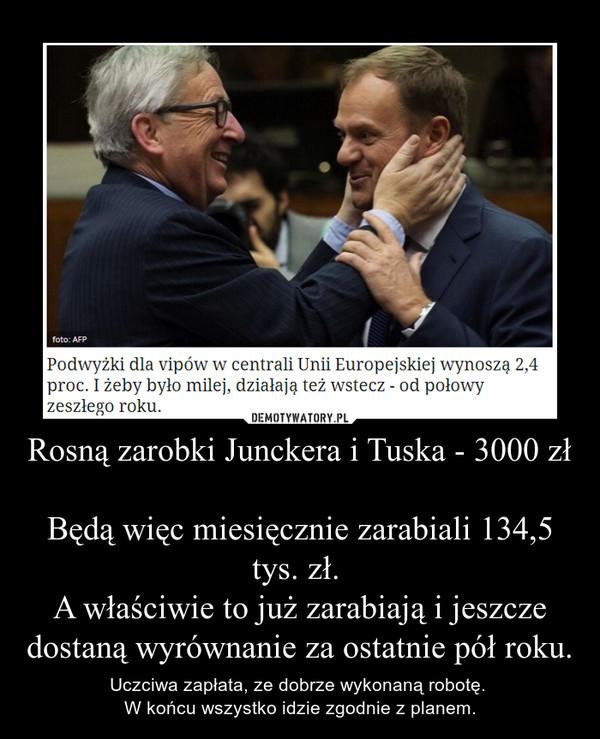 Rosną zarobki Junckera i Tuska - 3000 złBędą więc miesięcznie zarabiali 134,5 tys. zł. A właściwie to już zarabiają i jeszcze dostaną wyrównanie za ostatnie pół roku. – Uczciwa zapłata, ze dobrze wykonaną robotę. W końcu wszystko idzie zgodnie z planem.