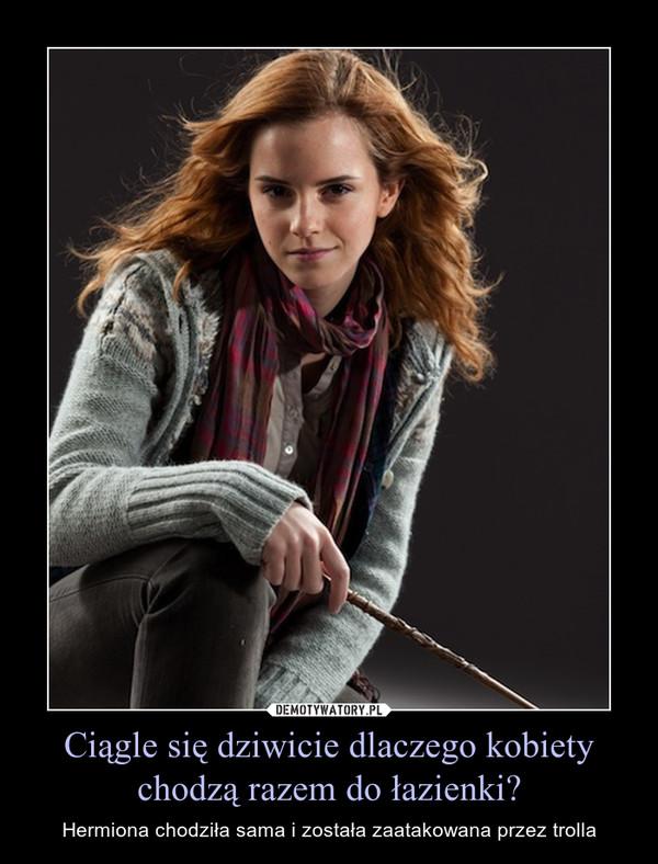 Ciągle się dziwicie dlaczego kobiety chodzą razem do łazienki? – Hermiona chodziła sama i została zaatakowana przez trolla