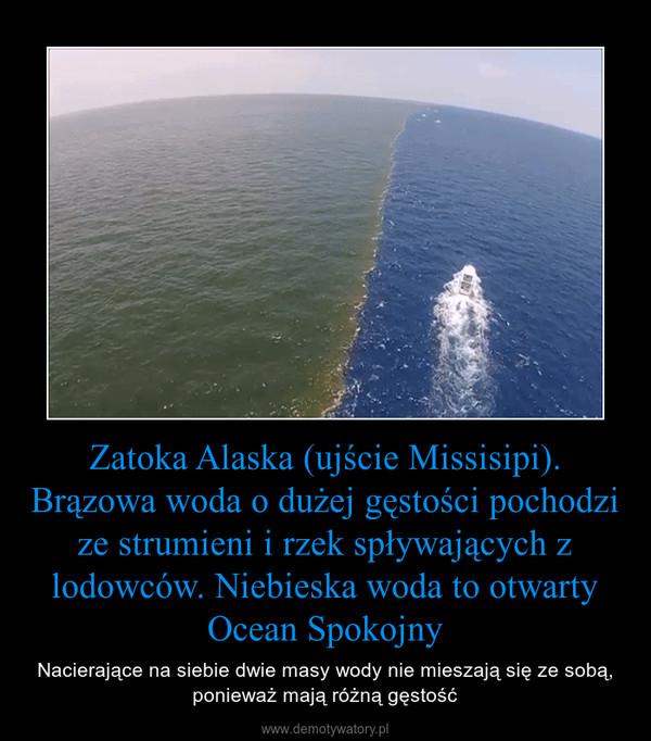 Zatoka Alaska (ujście Missisipi). Brązowa woda o dużej gęstości pochodzi ze strumieni i rzek spływających z lodowców. Niebieska woda to otwarty Ocean Spokojny – Nacierające na siebie dwie masy wody nie mieszają się ze sobą, ponieważ mają różną gęstość