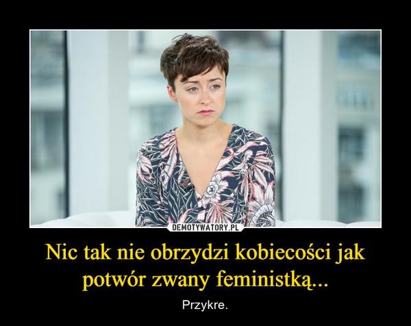 Nic tak nie obrzydzi kobiecości jak potwór zwany feministką... – Przykre.