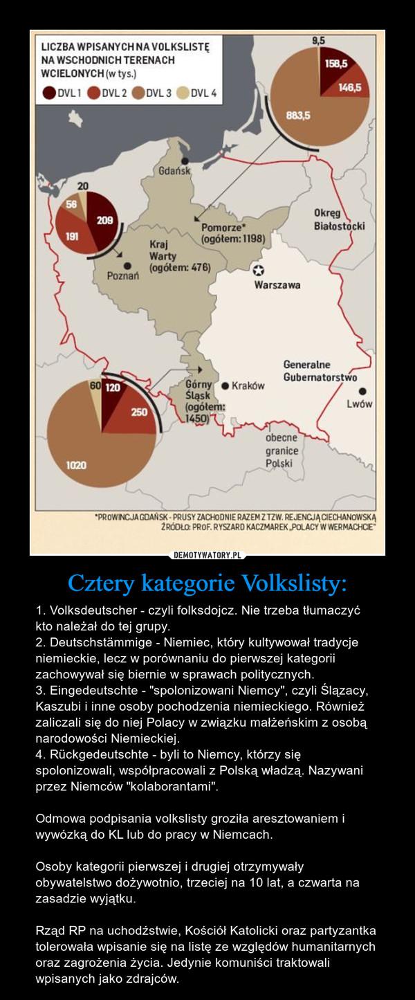 """Cztery kategorie Volkslisty: – 1. Volksdeutscher - czyli folksdojcz. Nie trzeba tłumaczyć kto należał do tej grupy.2. Deutschstämmige - Niemiec, który kultywował tradycje niemieckie, lecz w porównaniu do pierwszej kategorii zachowywał się biernie w sprawach politycznych.3. Eingedeutschte - """"spolonizowani Niemcy"""", czyli Ślązacy, Kaszubi i inne osoby pochodzenia niemieckiego. Również zaliczali się do niej Polacy w związku małżeńskim z osobą narodowości Niemieckiej.4. Rückgedeutschte - byli to Niemcy, którzy się spolonizowali, współpracowali z Polską władzą. Nazywani przez Niemców """"kolaborantami"""".Odmowa podpisania volkslisty groziła aresztowaniem i wywózką do KL lub do pracy w Niemcach.Osoby kategorii pierwszej i drugiej otrzymywały obywatelstwo dożywotnio, trzeciej na 10 lat, a czwarta na zasadzie wyjątku.Rząd RP na uchodźstwie, Kościół Katolicki oraz partyzantka tolerowała wpisanie się na listę ze względów humanitarnych oraz zagrożenia życia. Jedynie komuniści traktowali wpisanych jako zdrajców."""