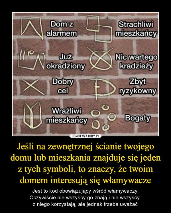 Jeśli na zewnętrznej ścianie twojego domu lub mieszkania znajduje się jeden z tych symboli, to znaczy, że twoim domem interesują się włamywacze – Jest to kod obowiązujący wśród włamywaczy.Oczywiście nie wszyscy go znają i nie wszyscy z niego korzystają, ale jednak trzeba uważać