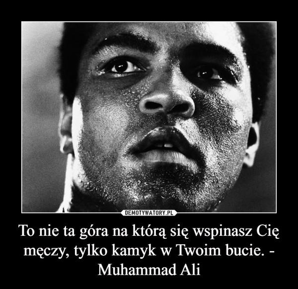 To nie ta góra na którą się wspinasz Cię męczy, tylko kamyk w Twoim bucie. - Muhammad Ali –