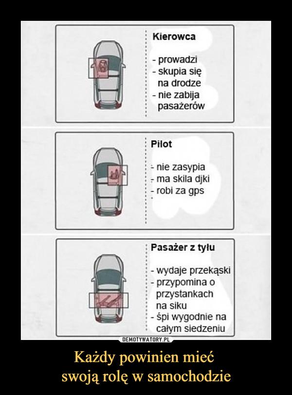 Każdy powinien mieć swoją rolę w samochodzie –  Kierowcaprowadziskupia sięna drodzenie zabijapasażerówPilotnie zasypiama skila djkirobi za gpsPasażer z tyłuwydaje przekąskiprzypomina oprzystankachna sikuśpi wygodnie nacałym siedzeniu
