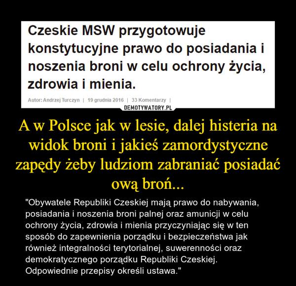 """A w Polsce jak w lesie, dalej histeria na widok broni i jakieś zamordystyczne zapędy żeby ludziom zabraniać posiadać ową broń... – """"Obywatele Republiki Czeskiej mają prawo do nabywania, posiadania i noszenia broni palnej oraz amunicji w celu ochrony życia, zdrowia i mienia przyczyniając się w ten sposób do zapewnienia porządku i bezpieczeństwa jak również integralności terytorialnej, suwerenności oraz demokratycznego porządku Republiki Czeskiej. Odpowiednie przepisy określi ustawa."""""""