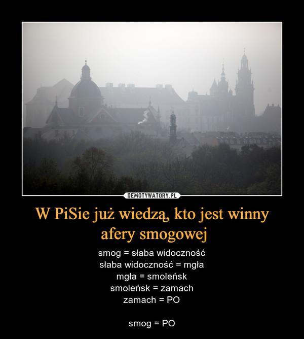 W PiSie już wiedzą, kto jest winny afery smogowej – smog = słaba widocznośćsłaba widoczność = mgłamgła = smoleńsksmoleńsk = zamachzamach = POsmog = PO