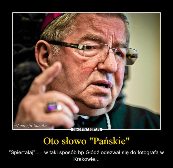 """Oto słowo """"Pańskie"""" – """"Spier*alaj""""... - w taki sposób bp Głódź odezwał się do fotografa w Krakowie..."""