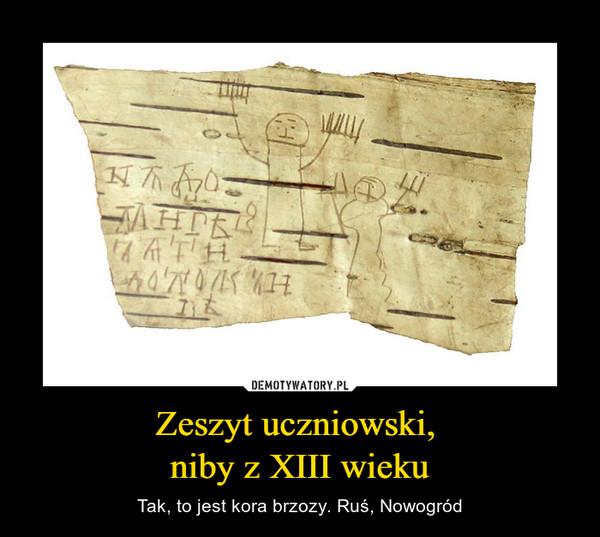Zeszyt uczniowski, niby z XIII wieku – Tak, to jest kora brzozy. Ruś, Nowogród