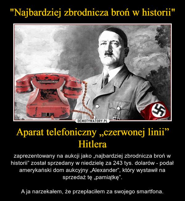 """Aparat telefoniczny """"czerwonej linii"""" Hitlera – zaprezentowany na aukcji jako """"najbardziej zbrodnicza broń w historii"""" został sprzedany w niedzielę za 243 tys. dolarów - podał amerykański dom aukcyjny """"Alexander"""", który wystawił na sprzedaż tę """"pamiątkę"""".A ja narzekałem, że przepłaciłem za swojego smartfona."""