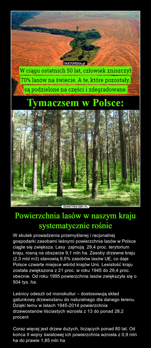 Powierzchnia lasów w naszym kraju systematycznie rośnie – W skutek prowadzenia przemyślanej i racjonalnej gospodarki zasobami leśnymi powierzchnia lasów w Polsce ciągle się zwiększa. Lasy  zajmują  29,4 proc. terytorium kraju, rosną na obszarze 9,1 mln ha. Zasoby drzewne kraju (2,3 mld m3) stanowią 9,5% zasobów lasów UE, co daje Polsce czwarte miejsce wśród krajów Unii. Lesistość kraju została zwiększona z 21 proc. w roku 1945 do 29,4 proc. obecnie. Od roku 1995 powierzchnia lasów zwiększyła się o 504 tys. ha.Leśnicy odeszli od monokultur – dostosowują skład gatunkowy drzewostanu do naturalnego dla danego terenu. Dzięki temu w latach 1945-2014 powierzchnia drzewostanów liściastych wzrosła z 13 do ponad 28,2 procentCoraz więcej jest drzew dużych, liczących ponad 80 lat. Od końca II wojny światowej ich powierzchnia wzrosła z 0,9 mln ha do prawie 1,85 mln ha W ciągu ostatnich 50 lat, człowiek zniszczył70% lasów na świecie. A te, które pozostały, są podzielone na części i zdegradowane