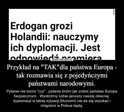 """Przykład na """"TAK""""dla państwa Europa - tak rozmawia się z pojedyńczymi państwami narodowymi."""