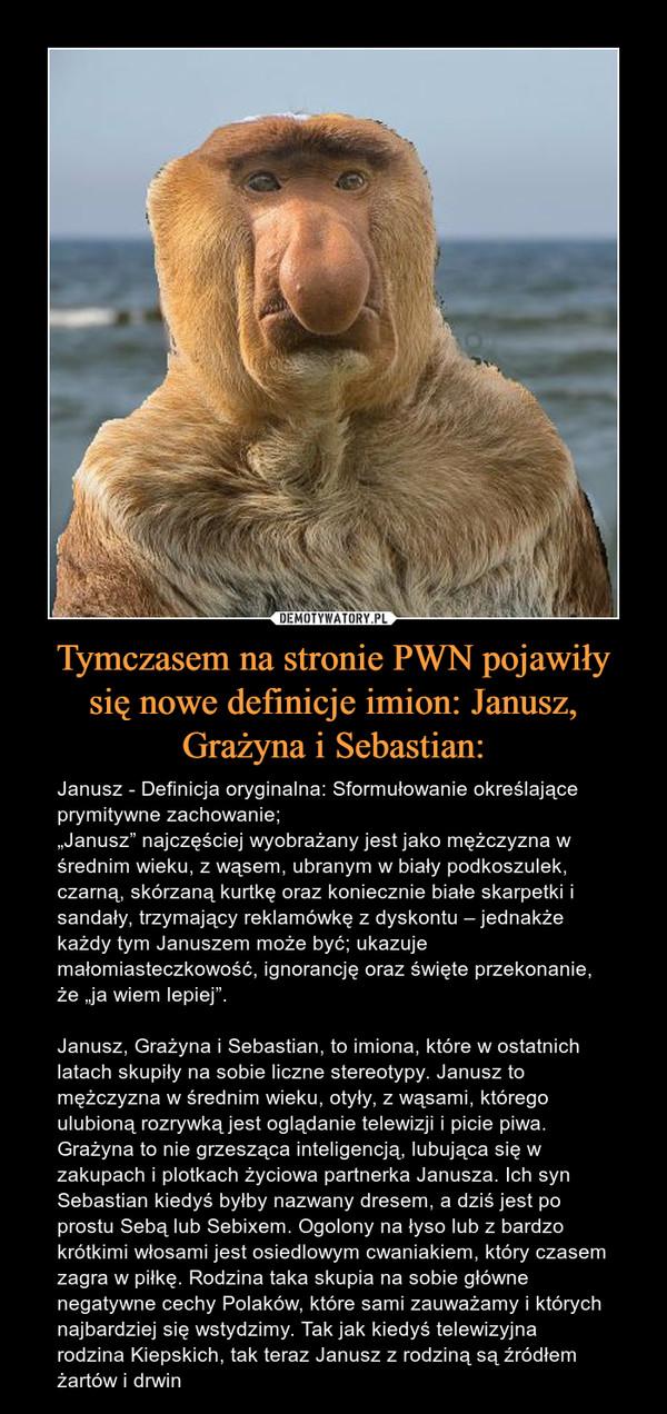 """Tymczasem na stronie PWN pojawiły się nowe definicje imion: Janusz, Grażyna i Sebastian: – Janusz - Definicja oryginalna: Sformułowanie określające prymitywne zachowanie;""""Janusz"""" najczęściej wyobrażany jest jako mężczyzna w średnim wieku, z wąsem, ubranym w biały podkoszulek, czarną, skórzaną kurtkę oraz koniecznie białe skarpetki i sandały, trzymający reklamówkę z dyskontu – jednakże każdy tym Januszem może być; ukazuje małomiasteczkowość, ignorancję oraz święte przekonanie, że """"ja wiem lepiej"""".Janusz, Grażyna i Sebastian, to imiona, które w ostatnich latach skupiły na sobie liczne stereotypy. Janusz to mężczyzna w średnim wieku, otyły, z wąsami, którego ulubioną rozrywką jest oglądanie telewizji i picie piwa. Grażyna to nie grzesząca inteligencją, lubująca się w zakupach i plotkach życiowa partnerka Janusza. Ich syn Sebastian kiedyś byłby nazwany dresem, a dziś jest po prostu Sebą lub Sebixem. Ogolony na łyso lub z bardzo krótkimi włosami jest osiedlowym cwaniakiem, który czasem zagra w piłkę. Rodzina taka skupia na sobie główne negatywne cechy Polaków, które sami zauważamy i których najbardziej się wstydzimy. Tak jak kiedyś telewizyjna rodzina Kiepskich, tak teraz Janusz z rodziną są źródłem żartów i drwin"""