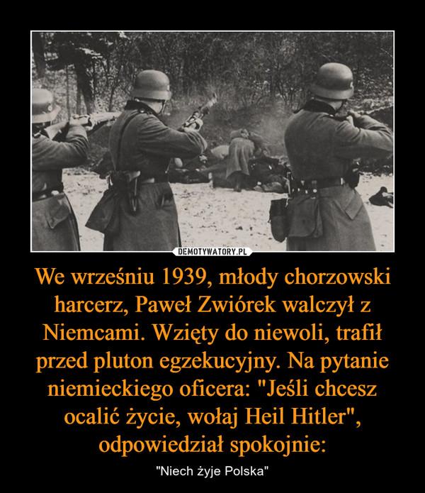 """We wrześniu 1939, młody chorzowski harcerz, Paweł Zwiórek walczył z Niemcami. Wzięty do niewoli, trafił przed pluton egzekucyjny. Na pytanie niemieckiego oficera: """"Jeśli chcesz ocalić życie, wołaj Heil Hitler"""", odpowiedział spokojnie: – """"Niech żyje Polska"""""""