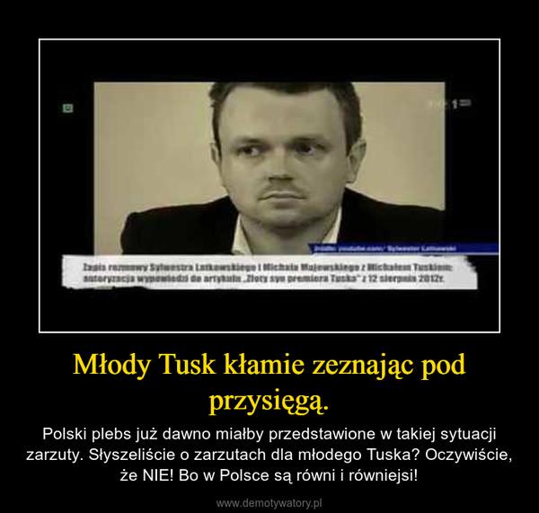 Młody Tusk kłamie zeznając pod przysięgą. – Polski plebs już dawno miałby przedstawione w takiej sytuacji zarzuty. Słyszeliście o zarzutach dla młodego Tuska? Oczywiście, że NIE! Bo w Polsce są równi i równiejsi!