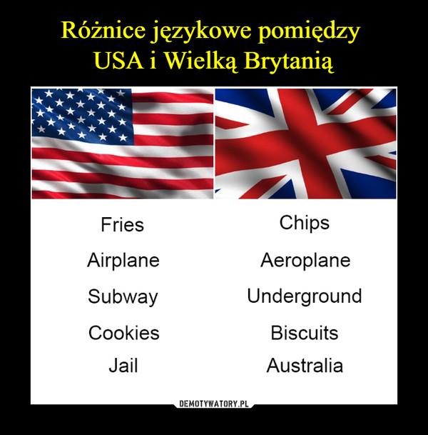 –  fries chipsairplane aeroplanesubway undergroundcookies biscuitsjail australia