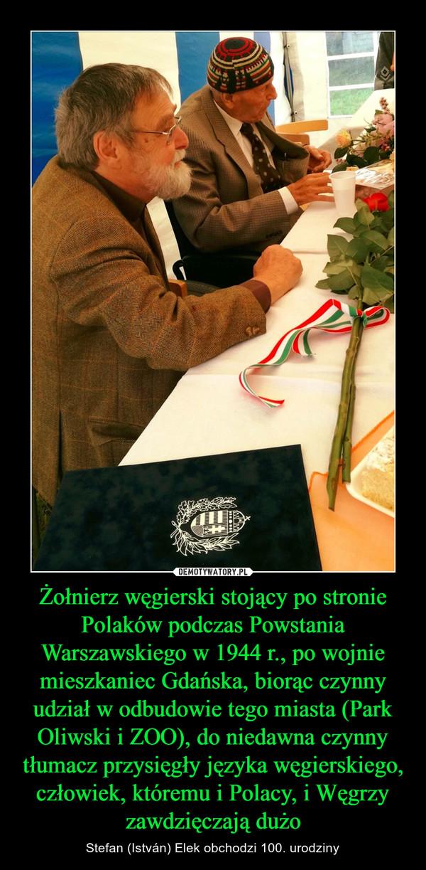 Żołnierz węgierski stojący po stronie Polaków podczas Powstania Warszawskiego w 1944 r., po wojnie mieszkaniec Gdańska, biorąc czynny udział w odbudowie tego miasta (Park Oliwski i ZOO), do niedawna czynny tłumacz przysięgły języka węgierskiego, człowiek, któremu i Polacy, i Węgrzy zawdzięczają dużo – Stefan (István) Elek obchodzi 100. urodziny