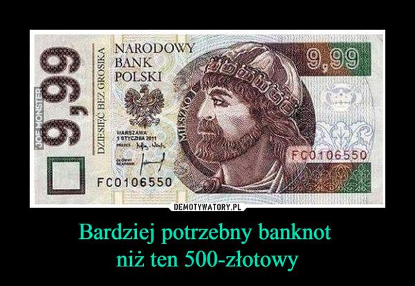 Bardziej potrzebny banknot niż ten 500-złotowy –