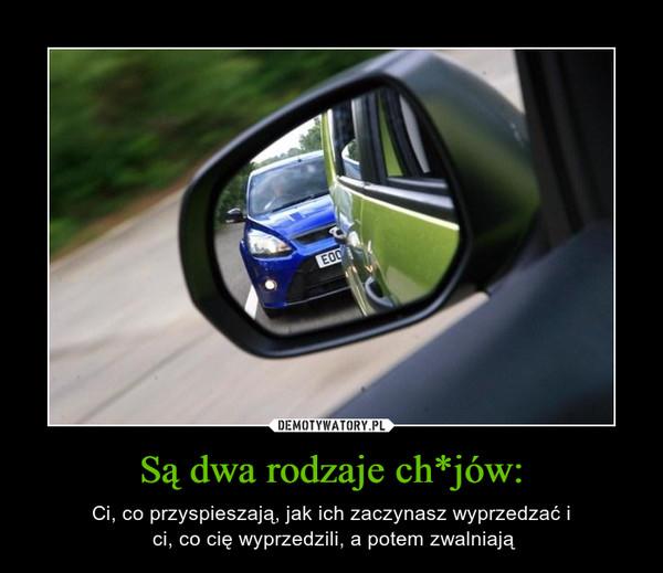 Są dwa rodzaje ch*jów: – Ci, co przyspieszają, jak ich zaczynasz wyprzedzać i ci, co cię wyprzedzili, a potem zwalniają