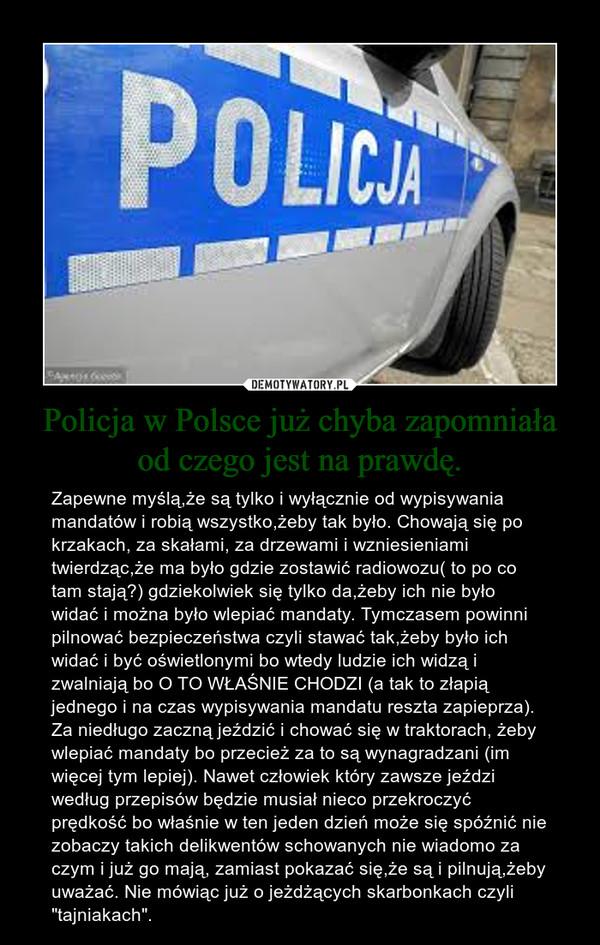 """Policja w Polsce już chyba zapomniała od czego jest na prawdę. – Zapewne myślą,że są tylko i wyłącznie od wypisywania mandatów i robią wszystko,żeby tak było. Chowają się po krzakach, za skałami, za drzewami i wzniesieniami twierdząc,że ma było gdzie zostawić radiowozu( to po co tam stają?) gdziekolwiek się tylko da,żeby ich nie było widać i można było wlepiać mandaty. Tymczasem powinni pilnować bezpieczeństwa czyli stawać tak,żeby było ich widać i być oświetlonymi bo wtedy ludzie ich widzą i zwalniają bo O TO WŁAŚNIE CHODZI (a tak to złapią jednego i na czas wypisywania mandatu reszta zapieprza). Za niedługo zaczną jeździć i chować się w traktorach, żeby wlepiać mandaty bo przecież za to są wynagradzani (im więcej tym lepiej). Nawet człowiek który zawsze jeździ według przepisów będzie musiał nieco przekroczyć prędkość bo właśnie w ten jeden dzień może się spóźnić nie zobaczy takich delikwentów schowanych nie wiadomo za czym i już go mają, zamiast pokazać się,że są i pilnują,żeby uważać. Nie mówiąc już o jeżdżących skarbonkach czyli """"tajniakach""""."""