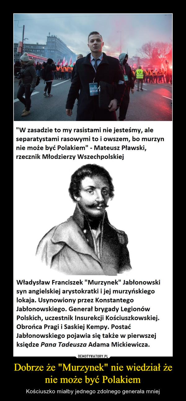 """Dobrze że """"Murzynek"""" nie wiedział że nie może być Polakiem – Kościuszko miałby jednego zdolnego generała mniej"""