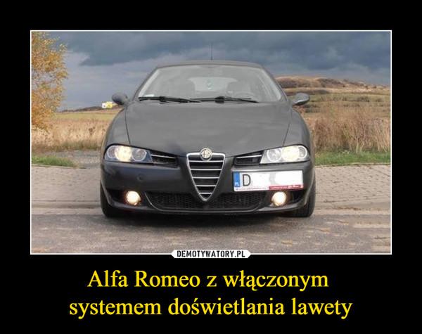 Alfa Romeo z włączonym systemem doświetlania lawety –