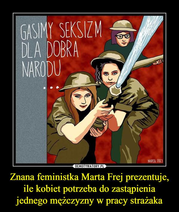 Znana feministka Marta Frej prezentuje, ile kobiet potrzeba do zastąpienia jednego mężczyzny w pracy strażaka –  gasimy seksizm dla dobra narodu